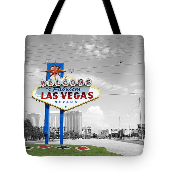 Tote Bag featuring the photograph Las Vegas Welcome Sign Color Splash Black And White by Shawn O'Brien
