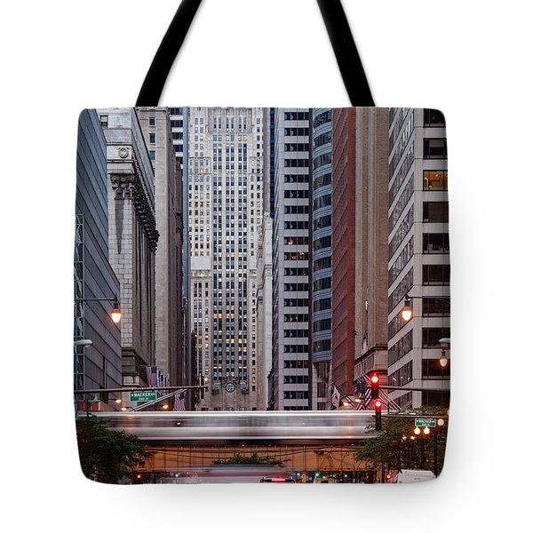Lasalle Street Canyon With Chicago Board Of Trade Building At The South Side II - Chicago Illinois Tote Bag by Silvio Ligutti