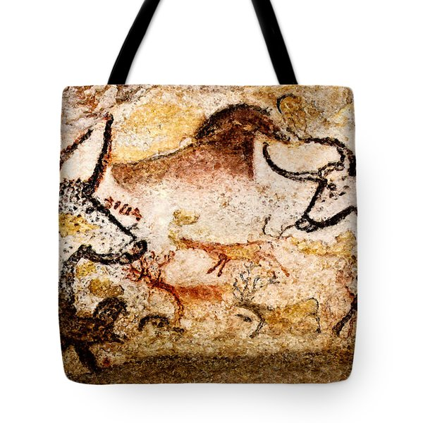 Lascaux Hall Of The Bulls - Deer And Aurochs Tote Bag