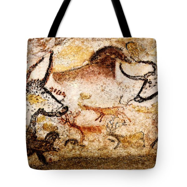 Lascaux Hall Of The Bulls - Deer Between Aurochs Tote Bag