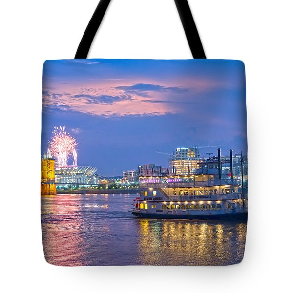 Laser Show Over Paul Brown Stadium  Tote Bag