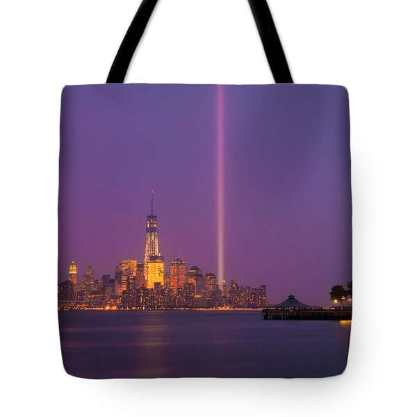 Laser Twin Towers In New York City Tote Bag