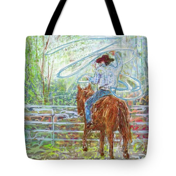 Tote Bag featuring the mixed media Lasso by Eduardo Tavares