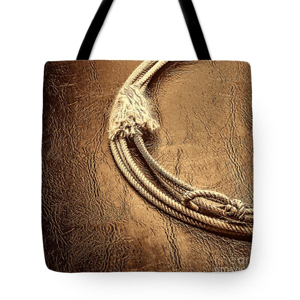 Lasso On Leather Tote Bag