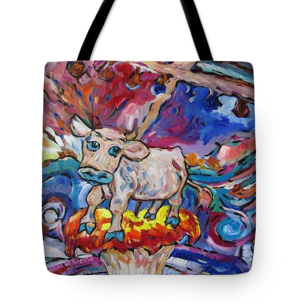 Tote Bag featuring the painting Last Cow Standing by Dianne  Connolly