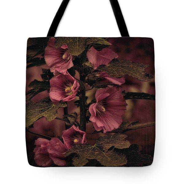 Last Hollyhock Blooms Tote Bag