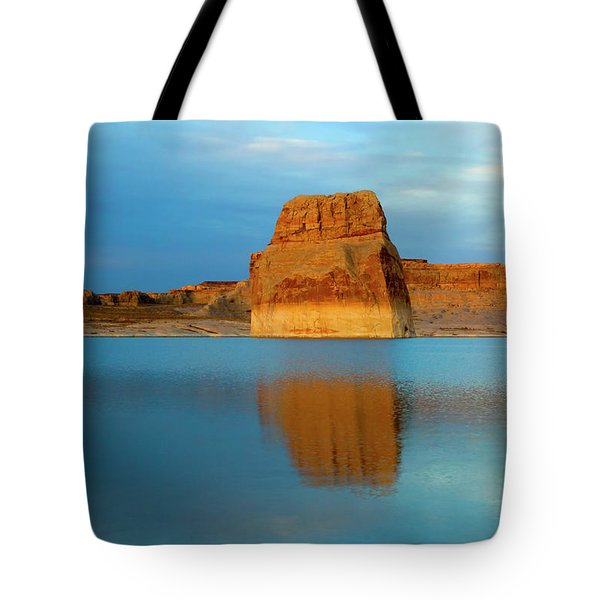 Tote Bag featuring the photograph Last Light At Lone Rock by Mike Dawson