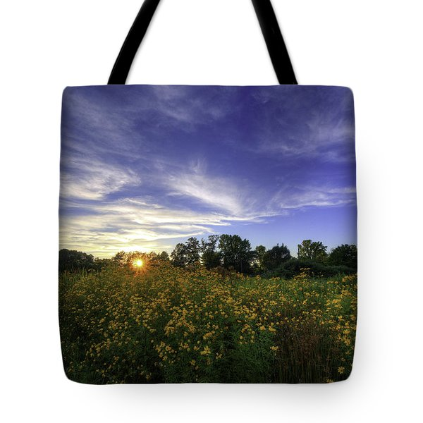 Last Rays Over The Flowers Tote Bag