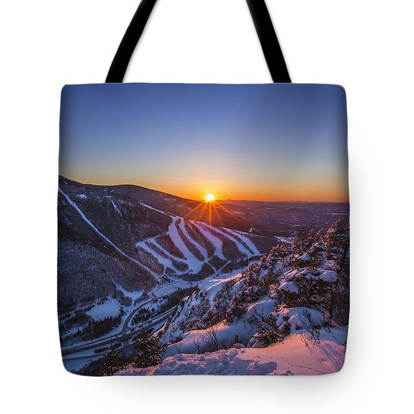 Last Winter Sunset Over Cannon Mountain Tote Bag