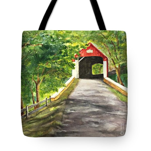 Late Afternoon At Knechts Covered Bridge   Tote Bag
