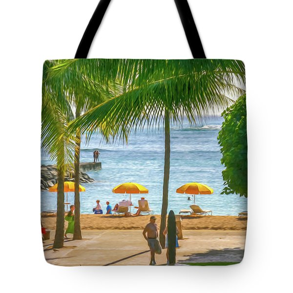 Late Afternoon At The Beach Digital Watercolor Tote Bag