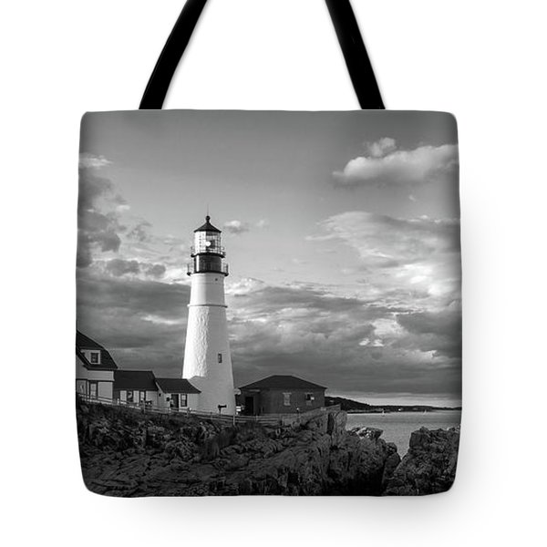 Late Afternoon Clouds, Portland Head Light  -98461 Tote Bag