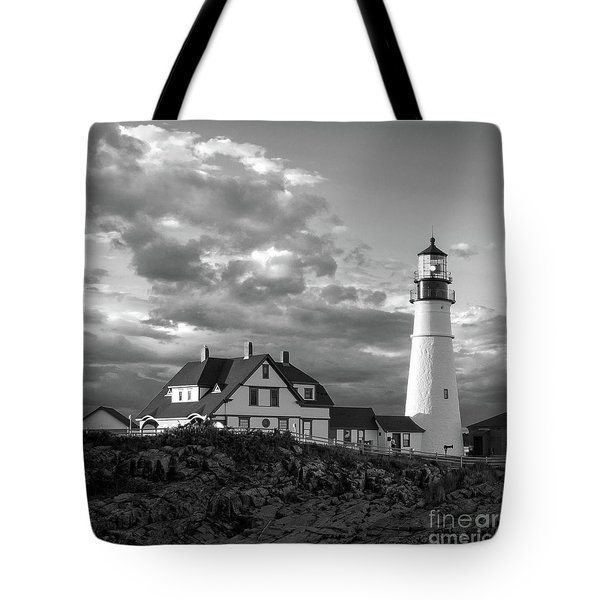 Late Afternoon Clouds, Portland Head Light  -98461-sq Tote Bag
