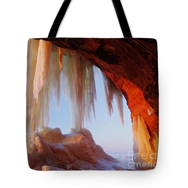 Tote Bag featuring the photograph Late Afternoon In An Ice Cave by Larry Ricker