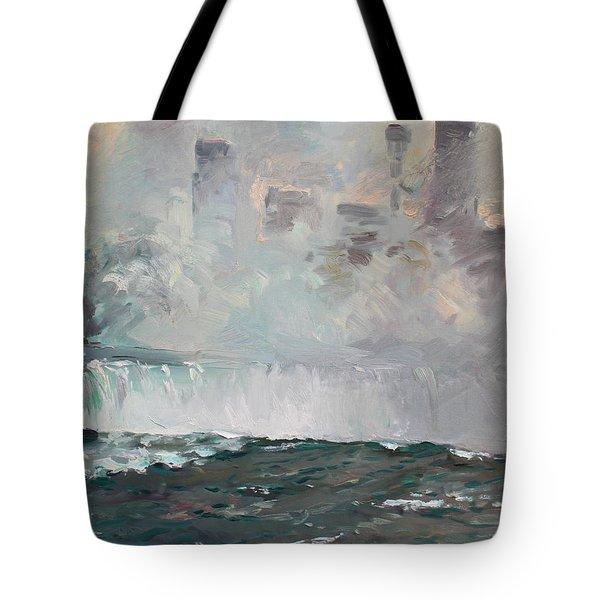 Late Afternoon In Niagara Falls Tote Bag by Ylli Haruni