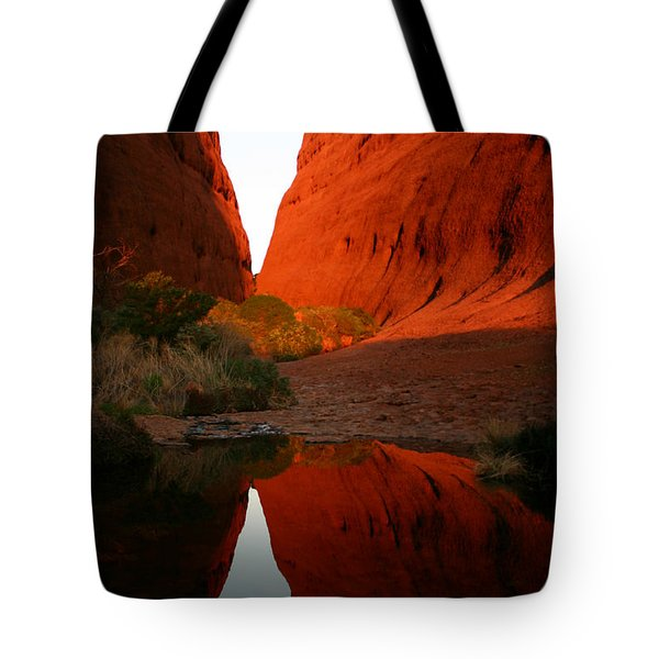 Late Afternoon Light And Reflections At Kata Tjuta In The Northern Territory Tote Bag