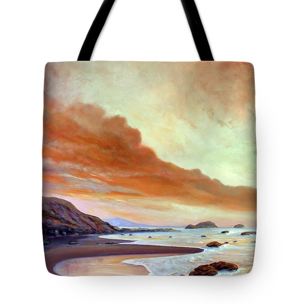 Tote Bag featuring the painting Late Afternoon On San Simeon Beach by Michael Rock