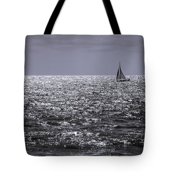 Sailboat Off The Coast At San Diego Tote Bag