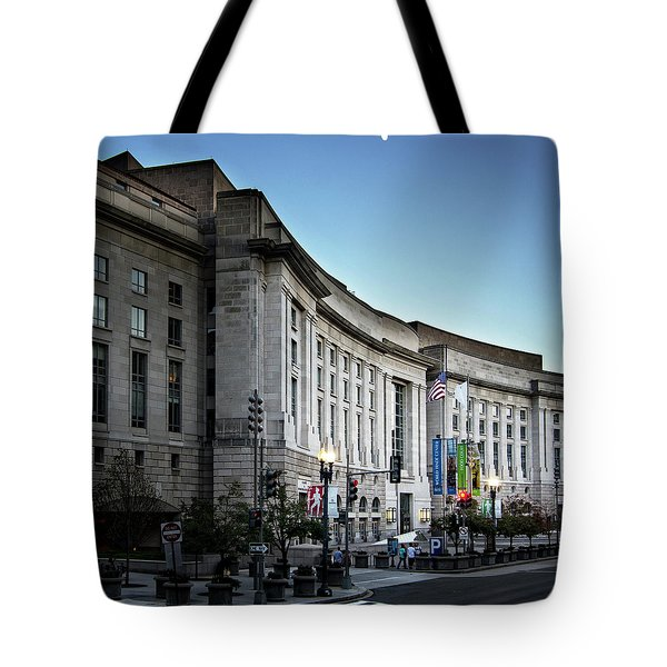 Late Evening At The Ronald Reagan Building Tote Bag