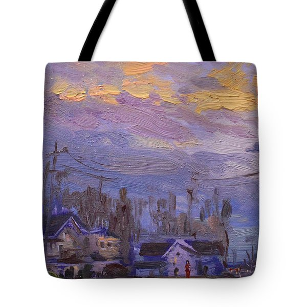 Late Evening In Town Tote Bag