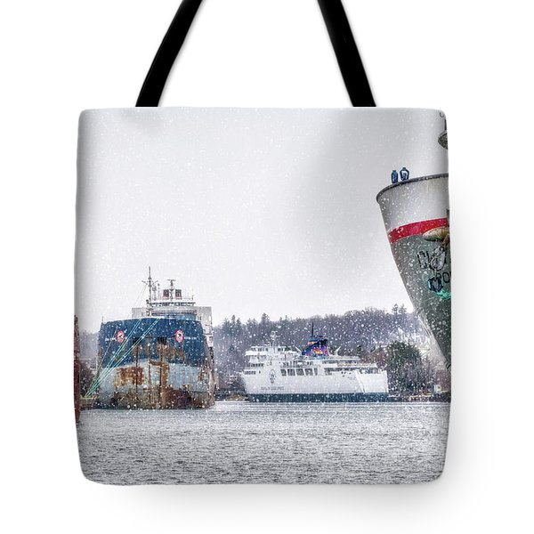 Late Harbour Snow Tote Bag