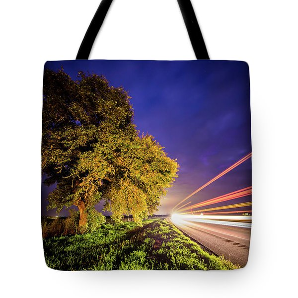 Late Night Texas Country Road Traffic Light Trails Tote Bag