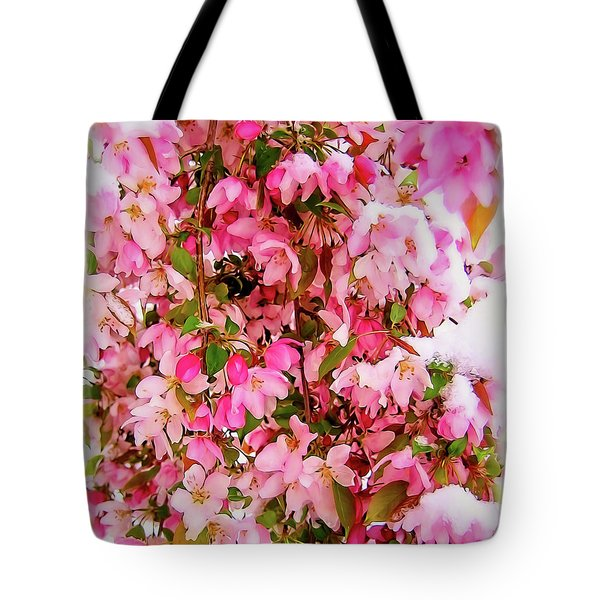 Late Snow Early Flowers Tote Bag