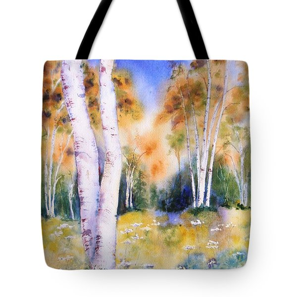 Late Summer Birches Tote Bag