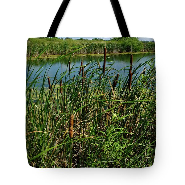 Late Summer Cattails Tote Bag by Scott Kingery
