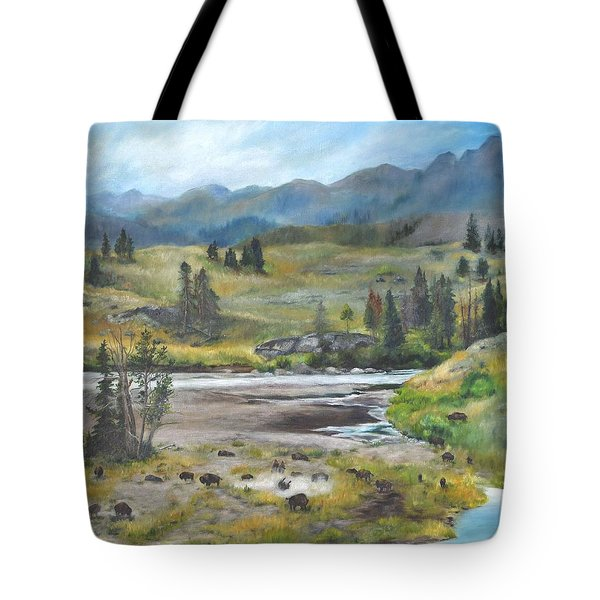 Late Summer In Yellowstone Tote Bag by Lori Brackett