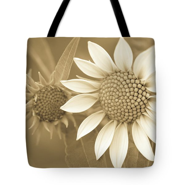 Late Summer Wildflower In Sepia Tote Bag
