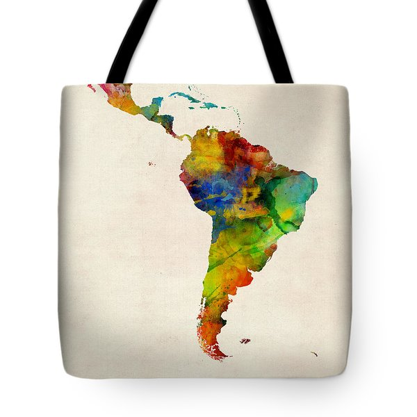 Latin America Watercolor Map Tote Bag