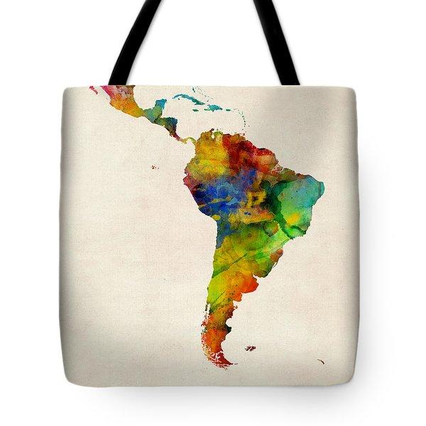 Latin America Watercolor Map Tote Bag