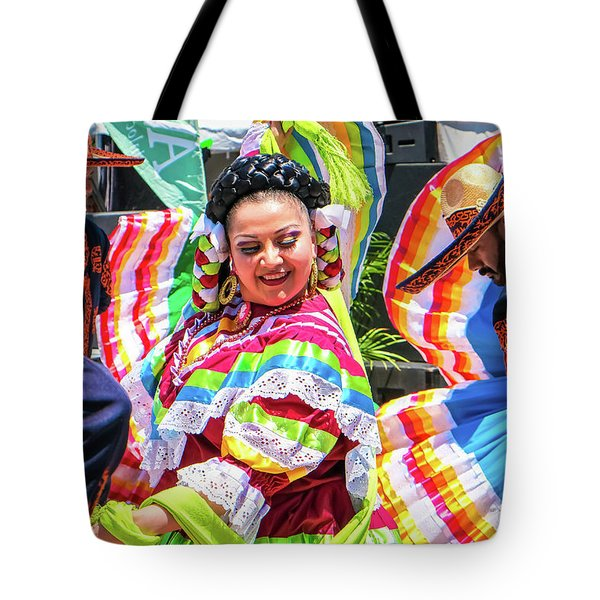 Tote Bag featuring the photograph Latino Street Festival Dancers by Robert Bellomy