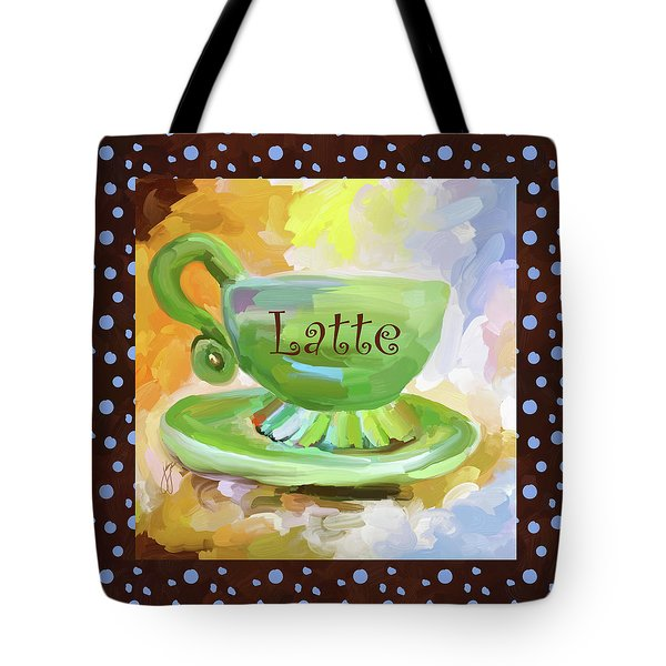 Latte Coffee Cup With Blue Dots Tote Bag