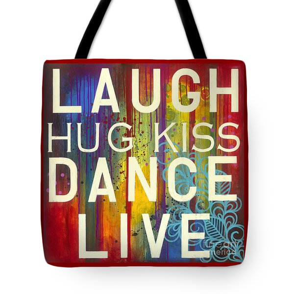 Tote Bag featuring the painting Laugh Hug Kiss Dance Live by Carla Bank