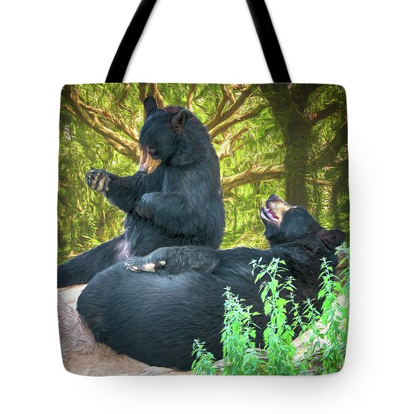 Tote Bag featuring the painting Laughing Bears by John Haldane