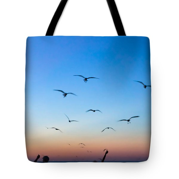 Laughing Gulls In The Evening Sky Tote Bag