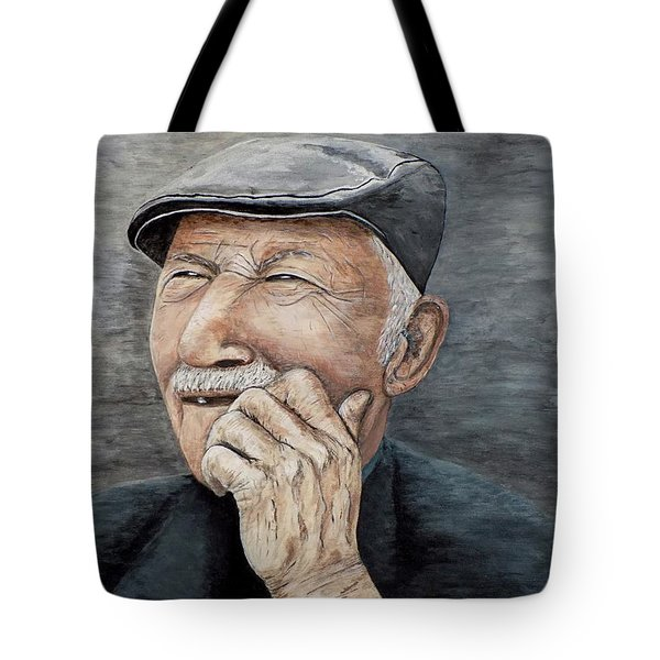 Tote Bag featuring the painting Laughing Old Man by Judy Kirouac