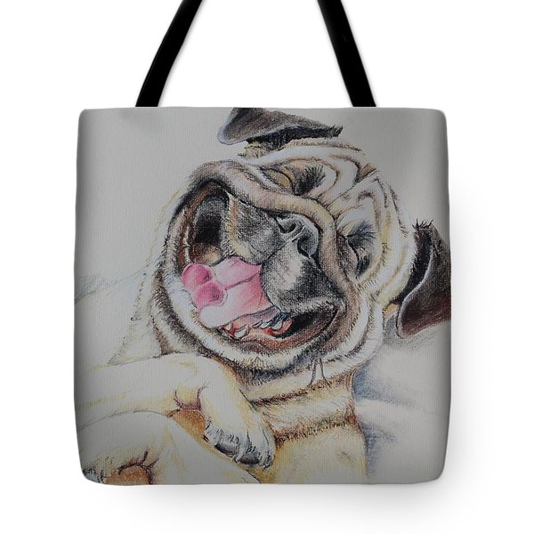 Laughing Pug Tote Bag