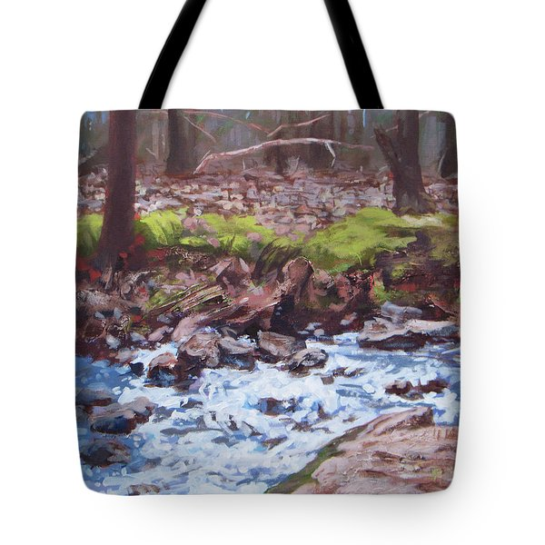 Laughing Stream In Winter Tote Bag by Carol Strickland