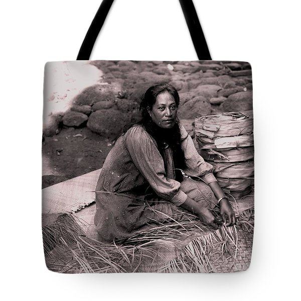Lauhala Weaver Tote Bag by Pg Reproductions