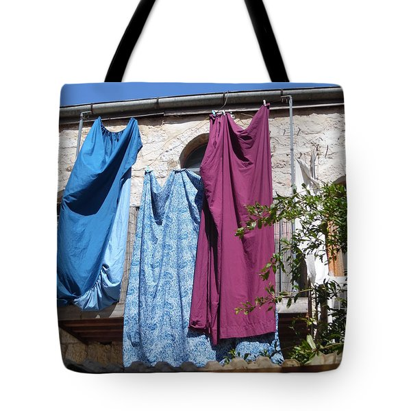 Tote Bag featuring the painting Laundry Art by Esther Newman-Cohen