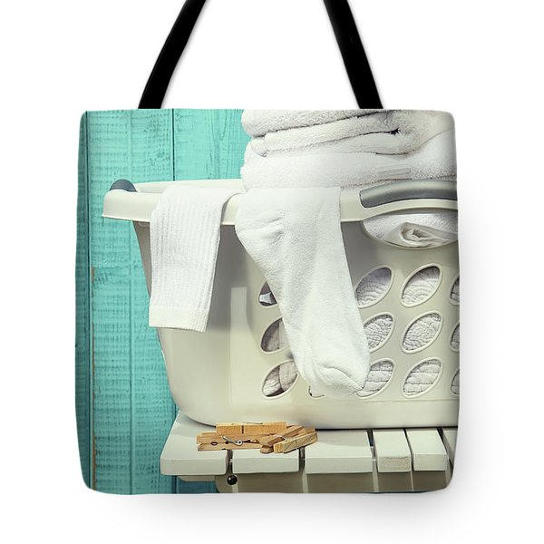 Laundry Basket With Towels Tote Bag