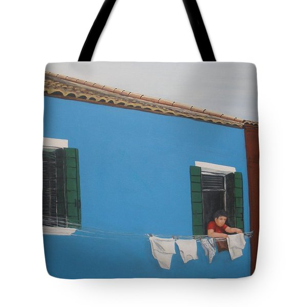 Tote Bag featuring the painting Laundry Day by Betty-Anne McDonald