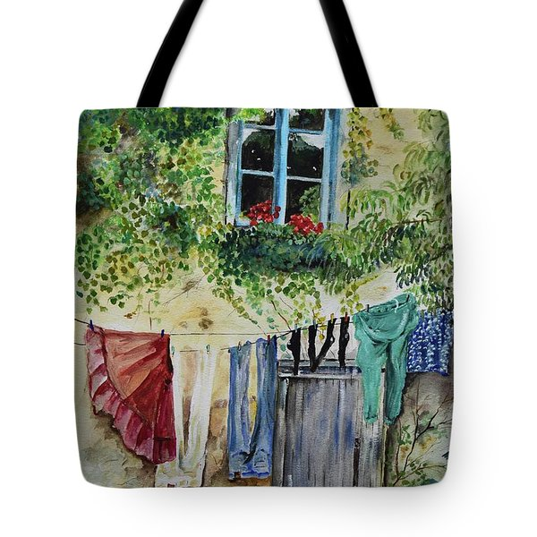 Tote Bag featuring the painting Laundry Day In France by Jan Dappen