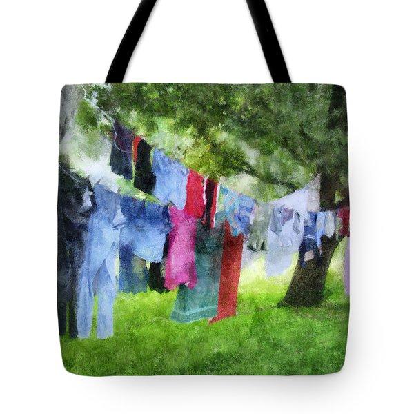 Laundry Line Tote Bag by Francesa Miller