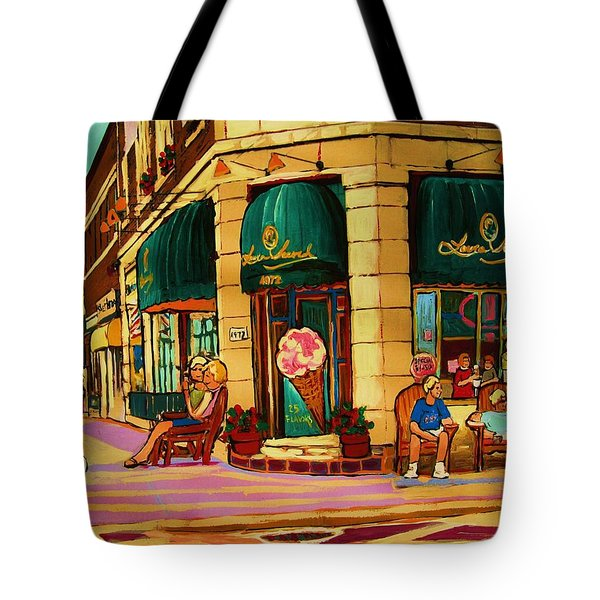 Laura Secord Candy And Cone Shop Tote Bag by Carole Spandau