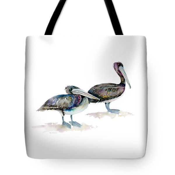 Laurel And Hardy, Brown Pelicans Tote Bag by Amy Kirkpatrick