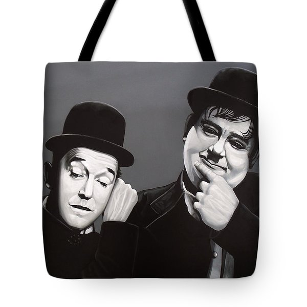 Laurel And Hardy Tote Bag by Paul Meijering